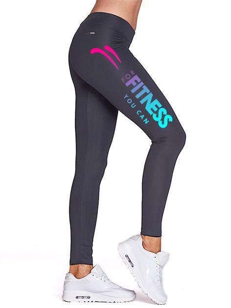 Grafitowe długie legginsy fitness ze sportowym nadrukiem                                   zdj.                                  1