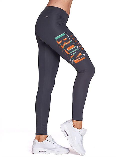 Grafitowe legginsy do fitnessu z nadrukiem RUN                                  zdj.                                  1