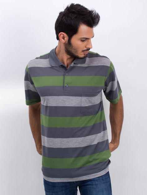 Grafitowo-zielona męska koszulka polo Scouring