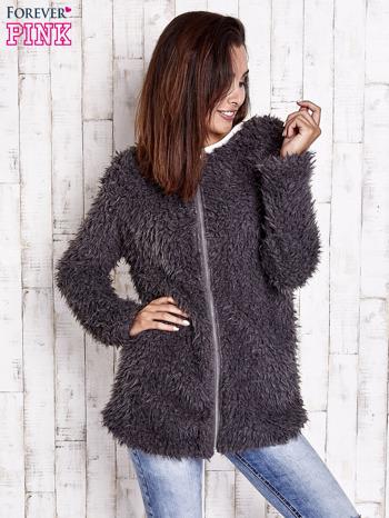 Grafitowy futrzany sweter kurtka na suwak                                  zdj.                                  2