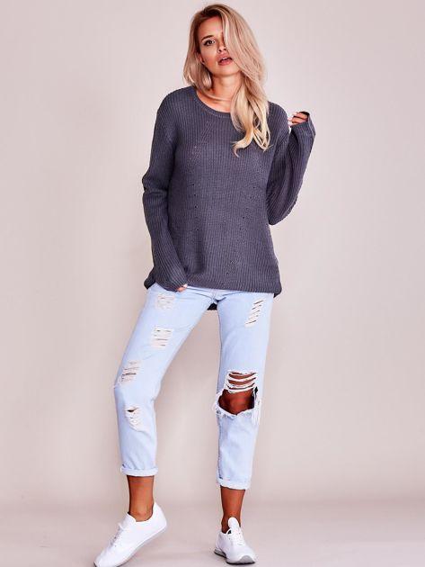 Grafitowy luźny sweter                               zdj.                              4