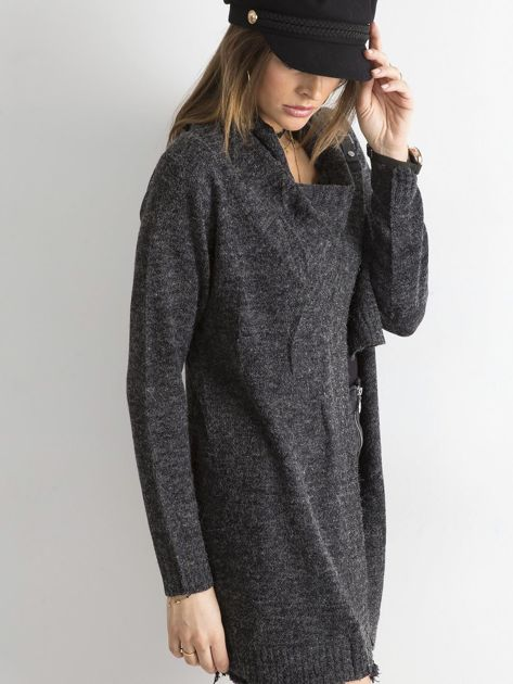 Grafitowy sweter z asymetrycznym zapięciem                              zdj.                              3