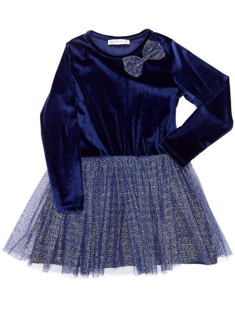 Granatowa aksamitna sukienka dla dziewczynki                              zdj.                              1