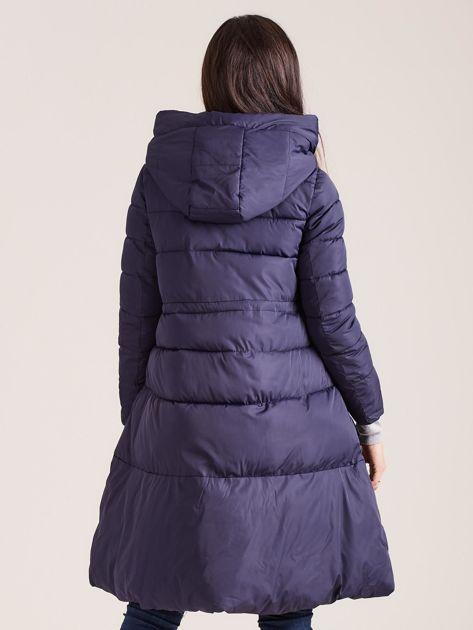 Granatowa asymetryczna kurtka zimowa                              zdj.                              2