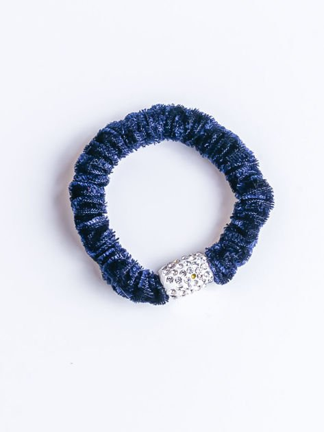 Granatowa atłasowa nieplącząca włosów gumka z cyrkoniami                              zdj.                              1