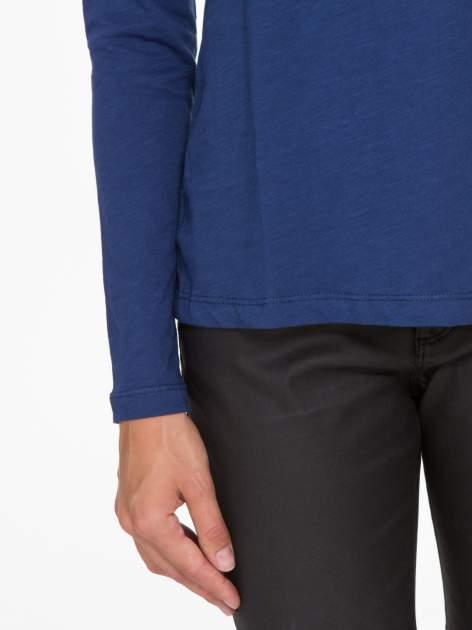 Granatowa basicowa bluzka z długim rękawem                                  zdj.                                  7