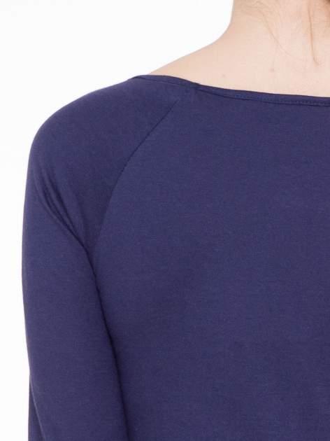 Granatowa basicowa gładka bluzka z rękawem 7/8                                  zdj.                                  5