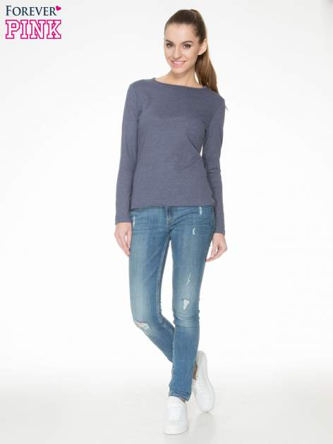 Granatowa bawełniana bluzka typu basic z długim rękawem                                  zdj.                                  2