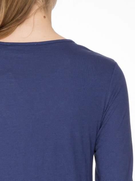 Granatowa bawełniana bluzka z gumką na dole                                  zdj.                                  5