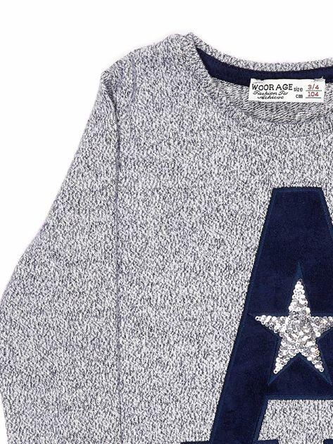 Granatowa bluza dla dziewczynki z literą                              zdj.                              6