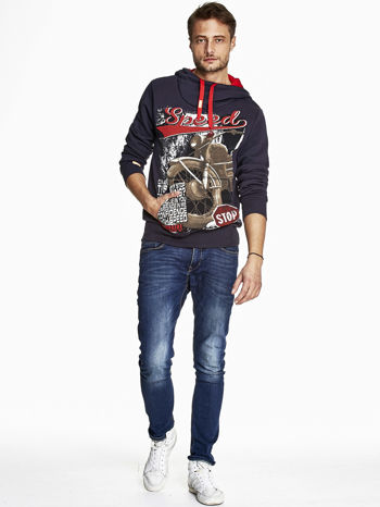 Granatowa bluza męska z kapturem z napisem SPEED                                  zdj.                                  4