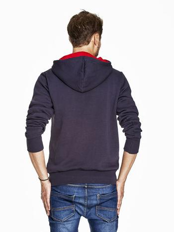 Granatowa bluza męska z kapturem z napisem SPEED                                  zdj.                                  2