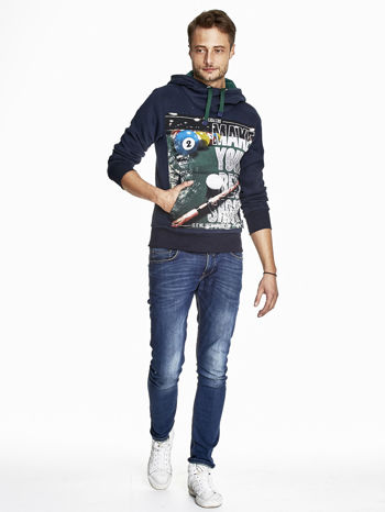 Granatowa bluza męska z napisem MAKE YOUR BEST SHOUT                                  zdj.                                  4
