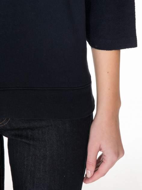 Granatowa bluza oversize z łączonych materiałów                                  zdj.                                  6