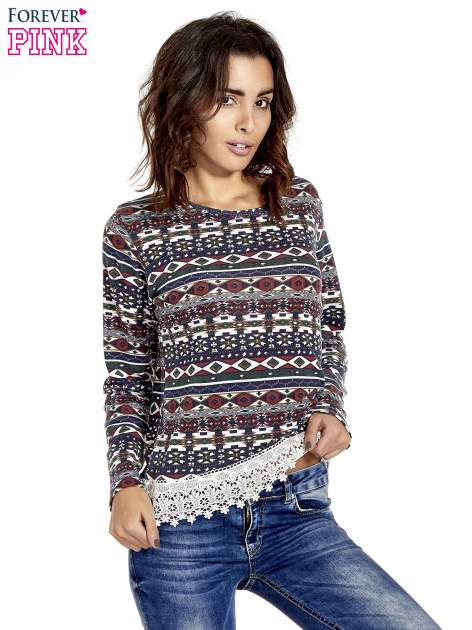Granatowa bluza w azteckie wzory z koronką                                  zdj.                                  1