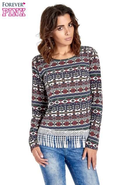 Granatowa bluza w azteckie wzory z koronką z frędzlami                                  zdj.                                  1