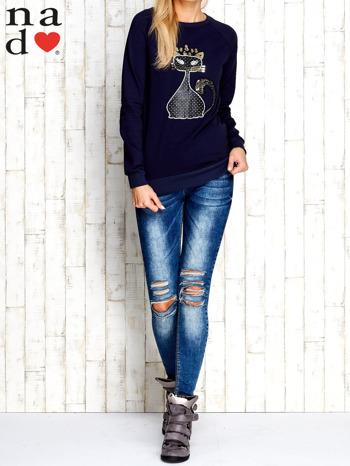 Granatowa bluza z cekinowym kotem                                  zdj.                                  2