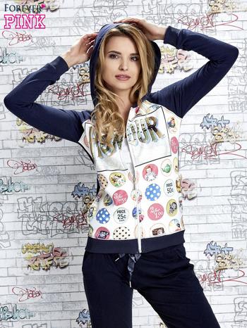 Granatowa bluza z kapturem i napisem HONOUR                                  zdj.                                  5