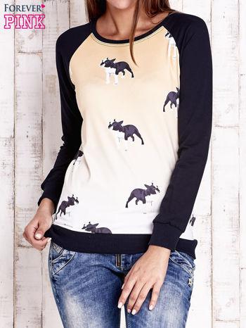 Granatowa bluza z nadrukiem buldożków                                  zdj.                                  1