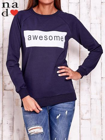 Granatowa bluza z napisem AWESOME