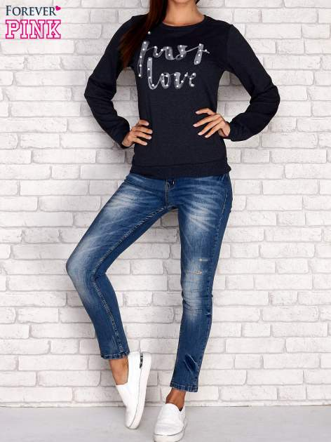 Granatowa bluza z napisem JUST LOVE i perełkami                                  zdj.                                  2