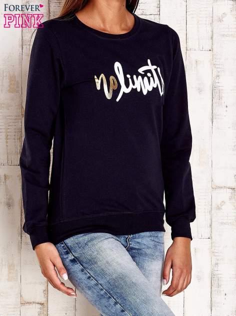 Granatowa bluza z napisem NO LIMITS                                  zdj.                                  3