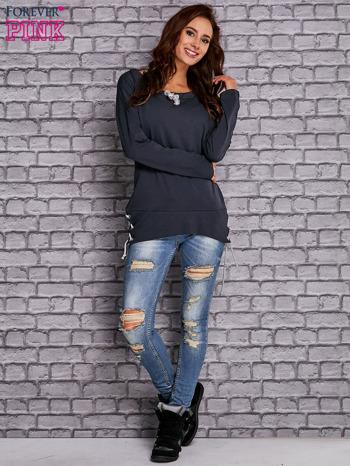 Granatowa bluza z wiązaniami                                  zdj.                                  2