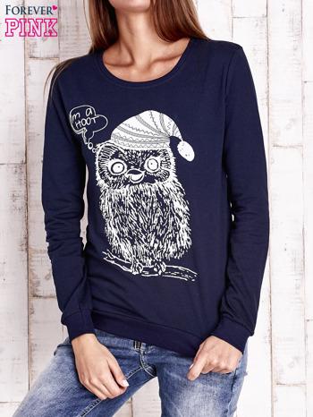 Granatowa bluza ze zwierzęcym nadrukiem