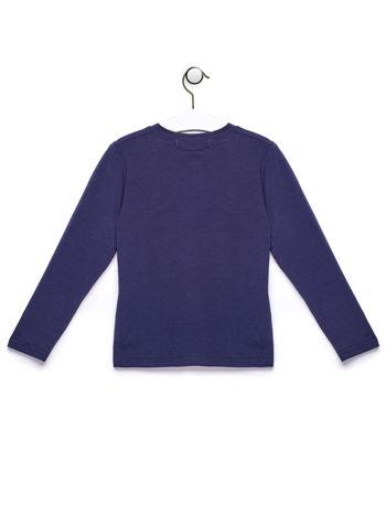 Granatowa bluzka chłopięca z  kolorowym nadrukiem