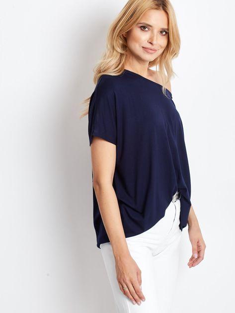 Granatowa bluzka damska Oversize                              zdj.                              3