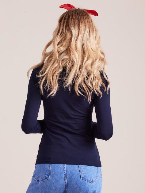Granatowa bluzka z długim rękawem                              zdj.                              2