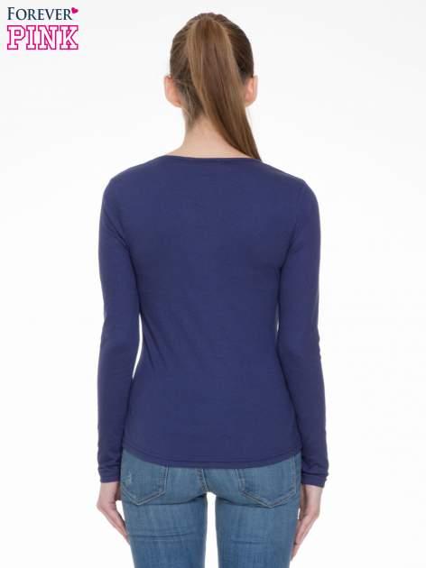 Granatowa bluzka z długim rękawem z bawełny                                  zdj.                                  4