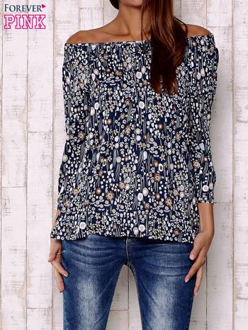 Granatowa bluzka z motywem floral print