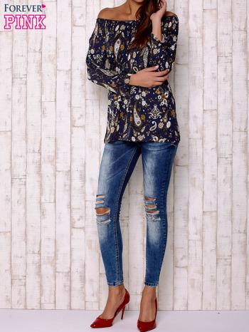 Granatowa bluzka z motywem paisley                                  zdj.                                  2