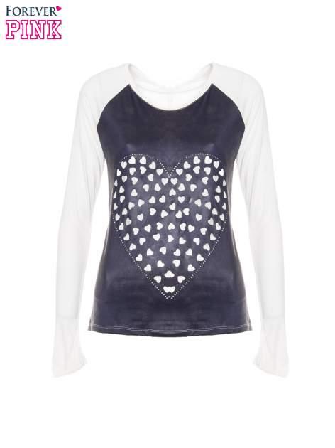 Granatowa bluzka z motywem serca i reglanowymi rękawami                                  zdj.                                  5