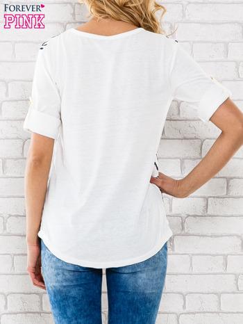 Granatowa bluzka z nadrukiem zebry                                  zdj.                                  4