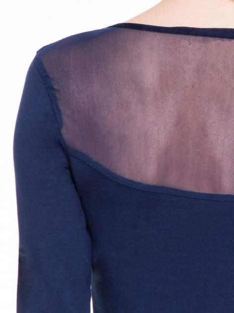 Granatowa bluzka z tiulowym karczkiem                                  zdj.                                  7