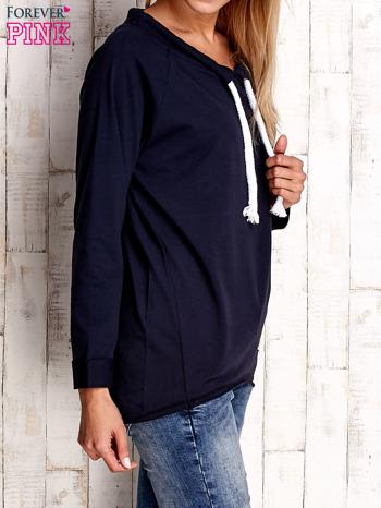 Granatowa bluzka z troczkami                                  zdj.                                  3