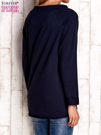 Granatowa bluzka z troczkami                                  zdj.                                  4