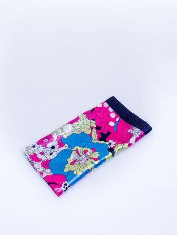 Granatowa chusta apaszka w kwiatowe wzory                                  zdj.                                  3