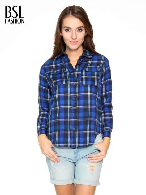 Granatowa damska koszula w kratę z kieszonkami