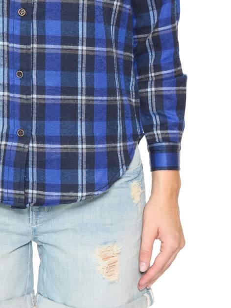 Granatowa damska koszula w kratę z kieszonkami                                  zdj.                                  9
