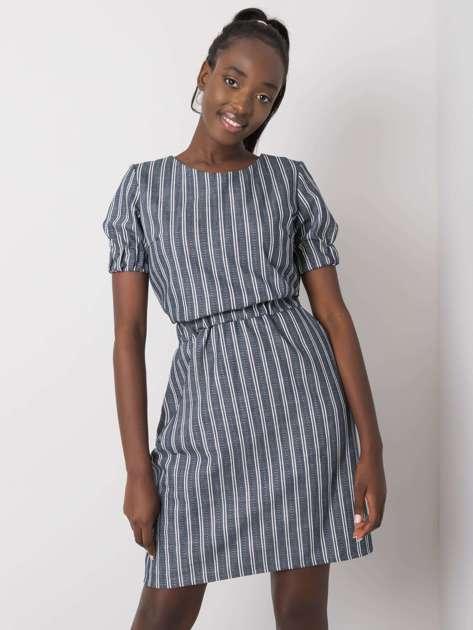 Granatowa damska sukienka w paski Adira