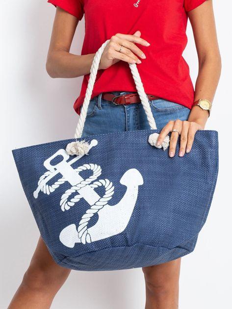 Granatowa damska torba z nadrukiem                              zdj.                              1