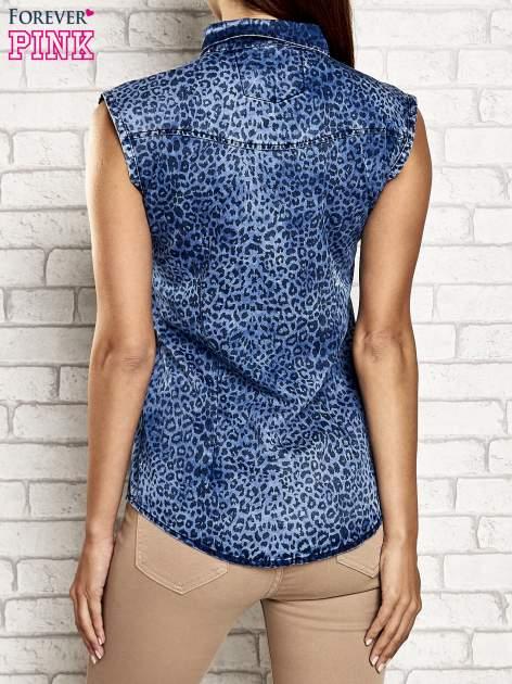Granatowa denimowa koszula z motywem panterki                                  zdj.                                  5