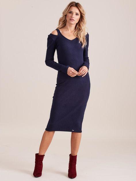 Granatowa dopasowana sukienka cold shoulder                              zdj.                              1