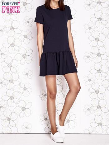 Granatowa dresowa sukienka z wycięciem na plecach                                   zdj.                                  6
