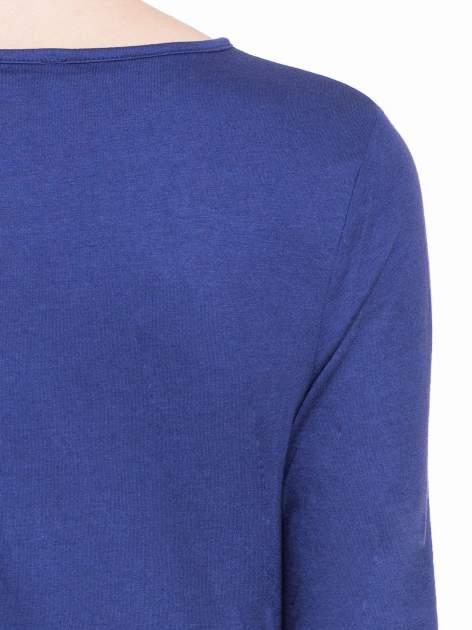Granatowa gładka bluzka z dłuższym tyłem                                  zdj.                                  7