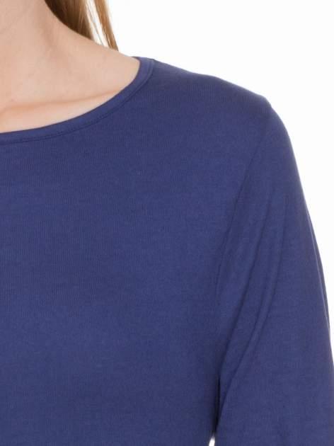 Granatowa gładka bluzka z rękawem 3/4                                  zdj.                                  4