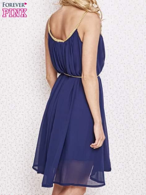 Granatowa grecka sukienka ze złotym paskiem                                  zdj.                                  4